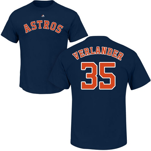 MLB Nike Houston Astros #35 Justin Verlander Navy Blue Name & Number T-Shirt