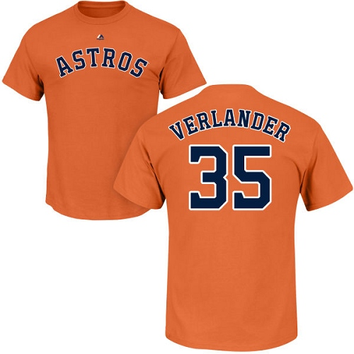 MLB Nike Houston Astros #35 Justin Verlander Orange Name & Number T-Shirt
