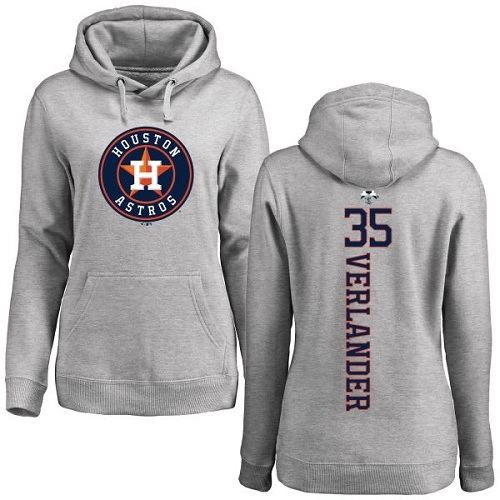 MLB Women's Nike Houston Astros #35 Justin Verlander Ash Backer Pullover Hoodie
