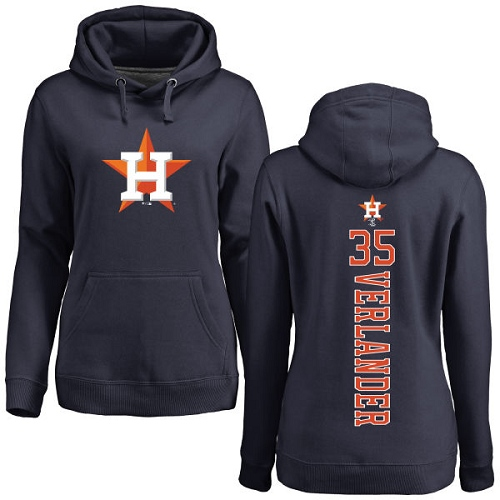 MLB Women's Nike Houston Astros #35 Justin Verlander Navy Blue Backer Pullover Hoodie