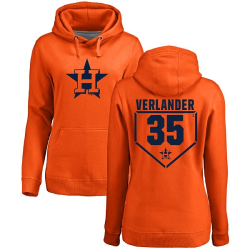 MLB Women's Nike Houston Astros #35 Justin Verlander Orange RBI Pullover Hoodie