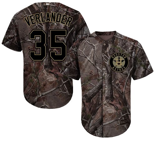 Men's Majestic Houston Astros #35 Justin Verlander Authentic Camo Realtree Collection Flex Base MLB Jersey