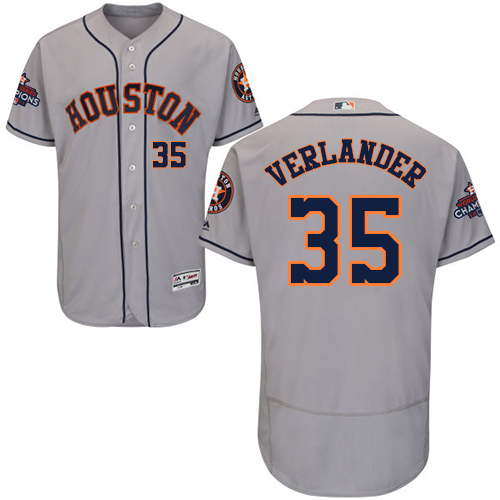 Men's Majestic Houston Astros #35 Justin Verlander Authentic Grey Road 2017 World Series Champions Flex Base MLB Jersey