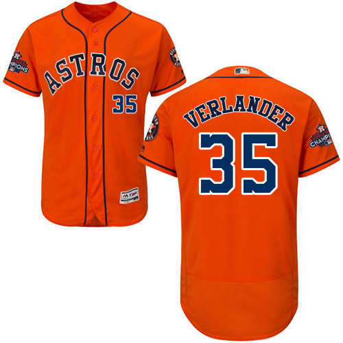 Men's Majestic Houston Astros #35 Justin Verlander Authentic Orange Alternate 2017 World Series Champions Flex Base MLB Jersey
