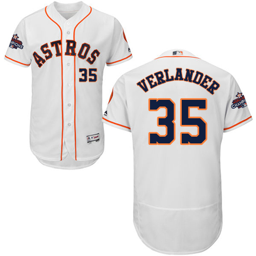 Men's Majestic Houston Astros #35 Justin Verlander Authentic White Home 2017 World Series Champions Flex Base MLB Jersey