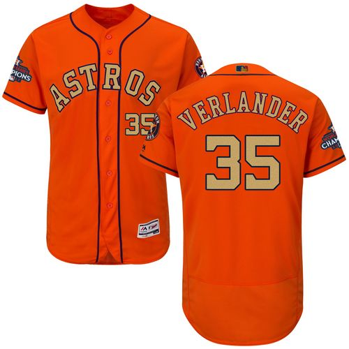 Men's Majestic Houston Astros #35 Justin Verlander Orange Alternate 2018 Gold Program Flex Base Authentic Collection MLB Jersey