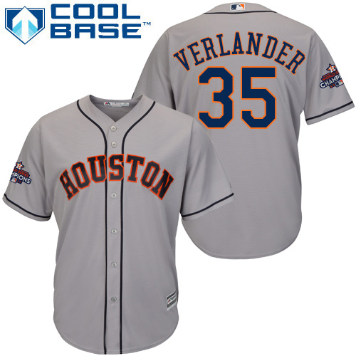 Men's Majestic Houston Astros #35 Justin Verlander Replica Grey Road 2017 World Series Champions Cool Base MLB Jersey
