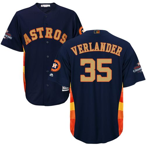 Men's Majestic Houston Astros #35 Justin Verlander Replica Navy Blue Alternate 2018 Gold Program Cool Base MLB Jersey