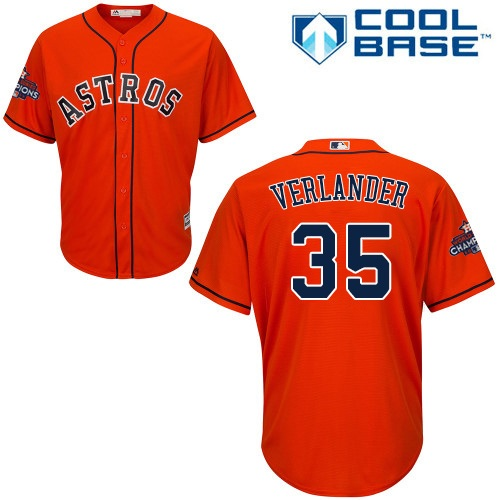 Men's Majestic Houston Astros #35 Justin Verlander Replica Orange Alternate 2017 World Series Champions Cool Base MLB Jersey