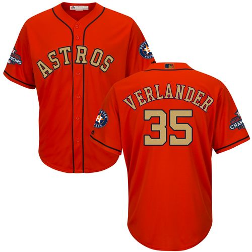 Men's Majestic Houston Astros #35 Justin Verlander Replica Orange Alternate 2018 Gold Program Cool Base MLB Jersey
