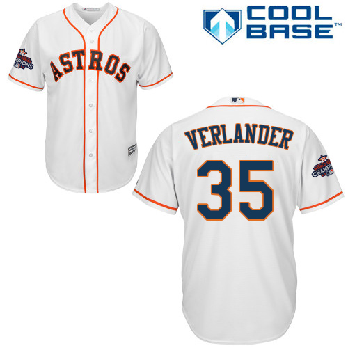 Men's Majestic Houston Astros #35 Justin Verlander Replica White Home 2017 World Series Champions Cool Base MLB Jersey