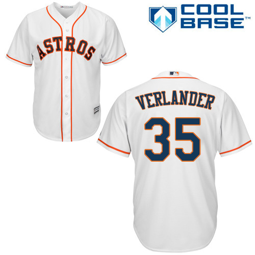 Men's Majestic Houston Astros #35 Justin Verlander Replica White Home Cool Base MLB Jersey