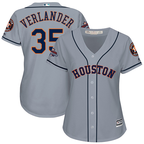 Women's Majestic Houston Astros #35 Justin Verlander Authentic Grey Road 2017 World Series Champions Cool Base MLB Jersey