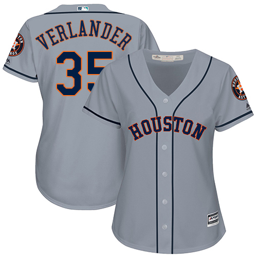 Women's Majestic Houston Astros #35 Justin Verlander Authentic Grey Road Cool Base MLB Jersey