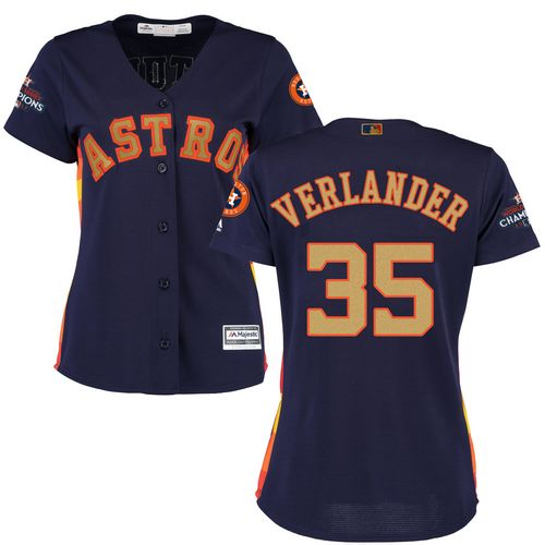 Women's Majestic Houston Astros #35 Justin Verlander Authentic Navy Blue Alternate 2018 Gold Program Cool Base MLB Jersey