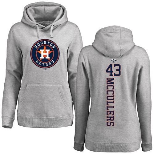 MLB Women's Nike Houston Astros #43 Lance McCullers Ash Backer Pullover Hoodie