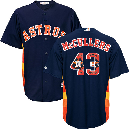 Men's Majestic Houston Astros #43 Lance McCullers Authentic Navy Blue Team Logo Fashion Cool Base MLB Jersey