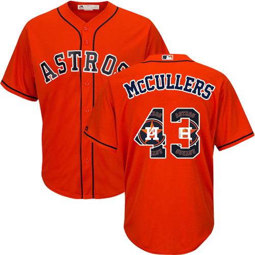 Men's Majestic Houston Astros #43 Lance McCullers Authentic Orange Team Logo Fashion Cool Base MLB Jersey