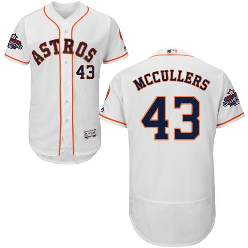 Men's Majestic Houston Astros #43 Lance McCullers Authentic White Home 2017 World Series Champions Flex Base MLB Jersey