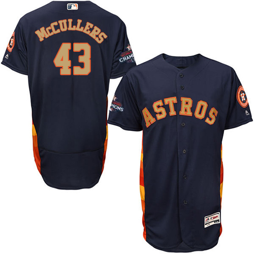 Men's Majestic Houston Astros #43 Lance McCullers Navy Blue Alternate 2018 Gold Program Flex Base Authentic Collection MLB Jersey