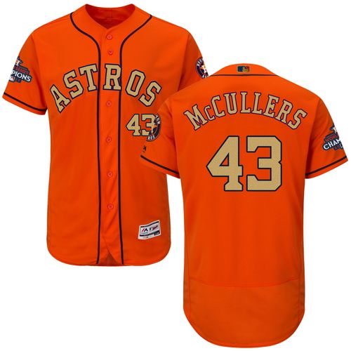 Men's Majestic Houston Astros #43 Lance McCullers Orange Alternate 2018 Gold Program Flex Base Authentic Collection MLB Jersey