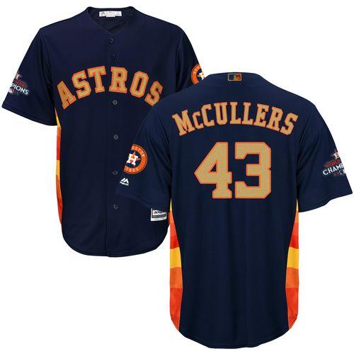 Men's Majestic Houston Astros #43 Lance McCullers Replica Navy Blue Alternate 2018 Gold Program Cool Base MLB Jersey