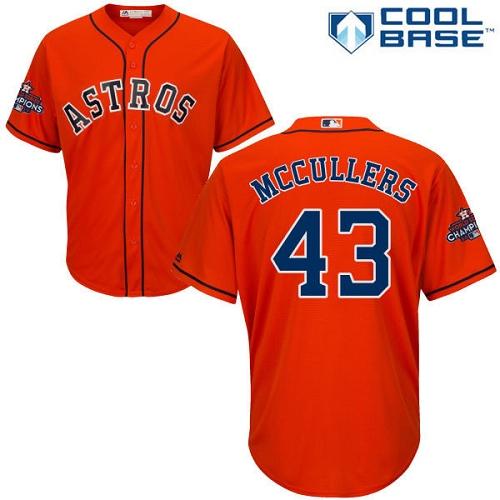 Men's Majestic Houston Astros #43 Lance McCullers Replica Orange Alternate 2017 World Series Champions Cool Base MLB Jersey