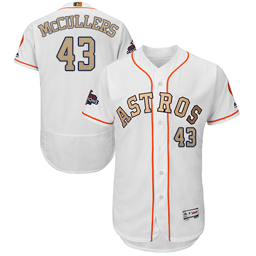 Men's Majestic Houston Astros #43 Lance McCullers White 2018 Gold Program Flex Base Authentic Collection MLB Jersey