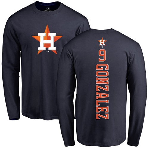 MLB Nike Houston Astros #9 Marwin Gonzalez Navy Blue Backer Long Sleeve T-Shirt