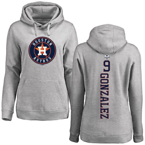 MLB Women's Nike Houston Astros #9 Marwin Gonzalez Ash Backer Pullover Hoodie