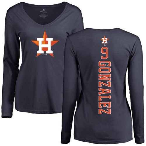 MLB Women's Nike Houston Astros #9 Marwin Gonzalez Navy Blue Backer Long Sleeve T-Shirt