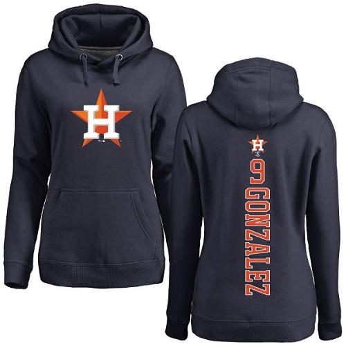 MLB Women's Nike Houston Astros #9 Marwin Gonzalez Navy Blue Backer Pullover Hoodie