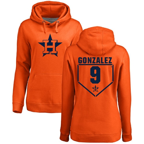 MLB Women's Nike Houston Astros #9 Marwin Gonzalez Orange RBI Pullover Hoodie