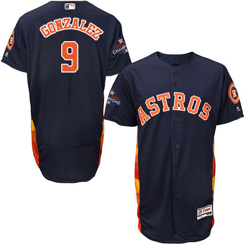 Men's Majestic Houston Astros #9 Marwin Gonzalez Authentic Navy Blue Alternate 2017 World Series Champions Flex Base MLB Jersey