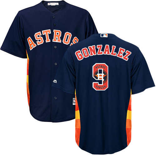 Men's Majestic Houston Astros #9 Marwin Gonzalez Authentic Navy Blue Team Logo Fashion Cool Base MLB Jersey