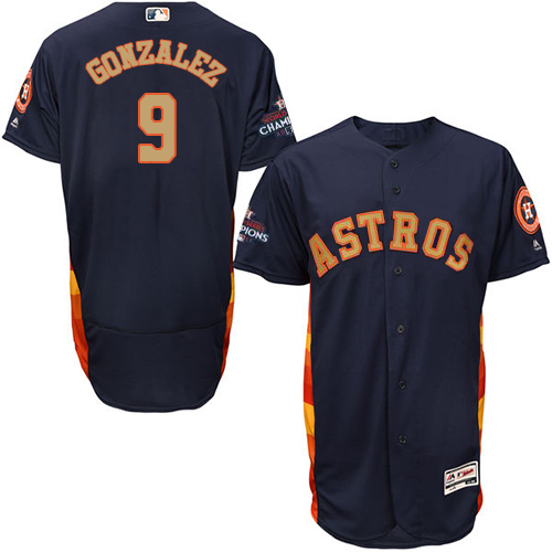 Men's Majestic Houston Astros #9 Marwin Gonzalez Navy Blue Alternate 2018 Gold Program Flex Base Authentic Collection MLB Jersey