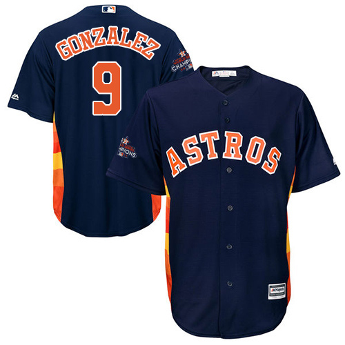 Men's Majestic Houston Astros #9 Marwin Gonzalez Replica Navy Blue Alternate 2017 World Series Champions Cool Base MLB Jersey