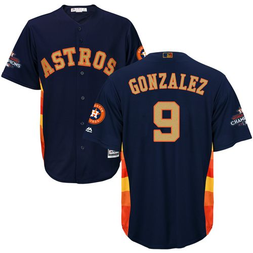 Men's Majestic Houston Astros #9 Marwin Gonzalez Replica Navy Blue Alternate 2018 Gold Program Cool Base MLB Jersey