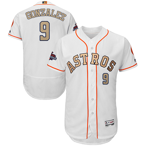 Men's Majestic Houston Astros #9 Marwin Gonzalez White 2018 Gold Program Flex Base Authentic Collection MLB Jersey