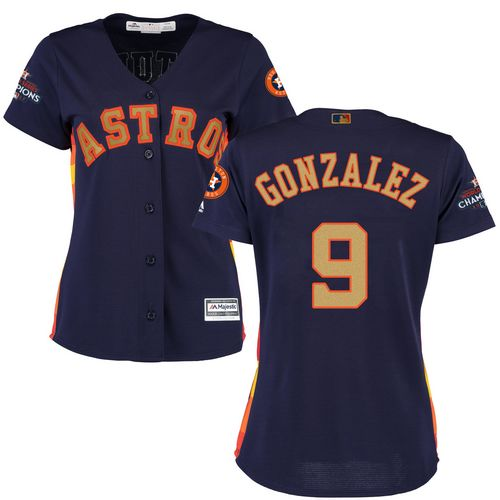 Women's Majestic Houston Astros #9 Marwin Gonzalez Authentic Navy Blue Alternate 2018 Gold Program Cool Base MLB Jersey