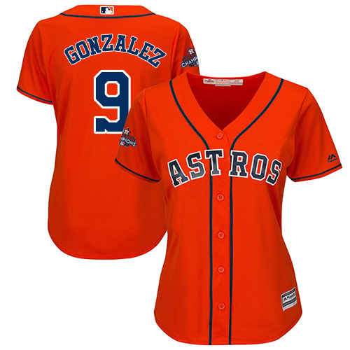 Women's Majestic Houston Astros #9 Marwin Gonzalez Replica Orange Alternate 2017 World Series Champions Cool Base MLB Jersey