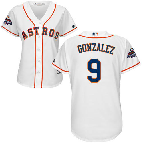 Women's Majestic Houston Astros #9 Marwin Gonzalez Replica White Home 2017 World Series Champions Cool Base MLB Jersey