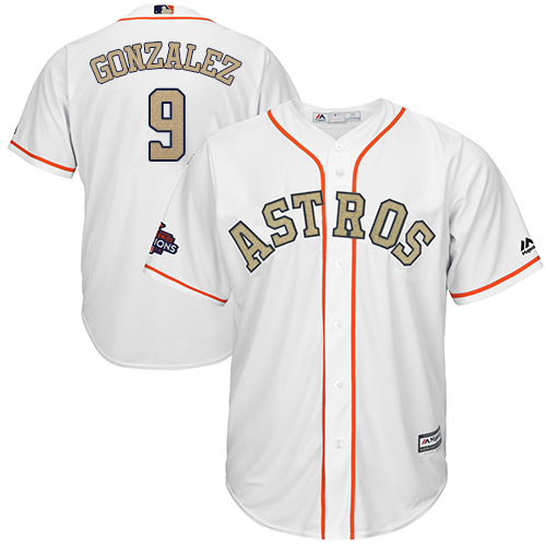 Youth Majestic Houston Astros #9 Marwin Gonzalez Authentic White 2018 Gold Program Cool Base MLB Jersey