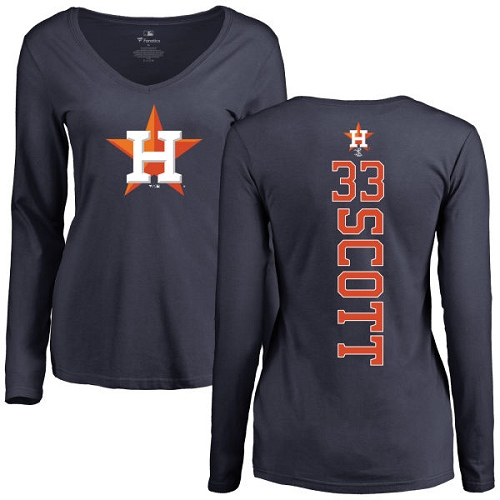 MLB Women's Nike Houston Astros #33 Mike Scott Navy Blue Backer Long Sleeve T-Shirt
