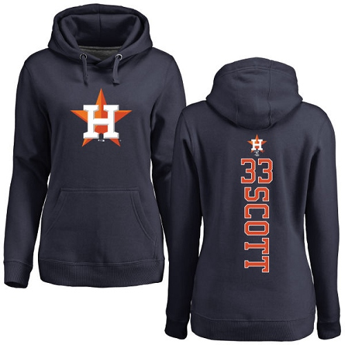 MLB Women's Nike Houston Astros #33 Mike Scott Navy Blue Backer Pullover Hoodie