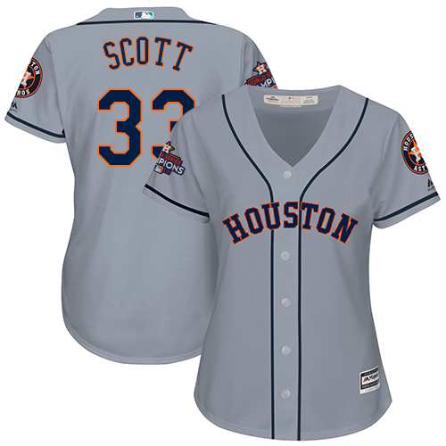 Women's Majestic Houston Astros #33 Mike Scott Authentic Grey Road 2017 World Series Champions Cool Base MLB Jersey