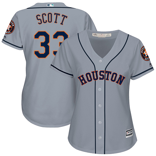 Women's Majestic Houston Astros #33 Mike Scott Authentic Grey Road Cool Base MLB Jersey