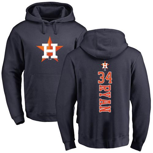 MLB Nike Houston Astros #34 Nolan Ryan Navy Blue Backer Pullover Hoodie
