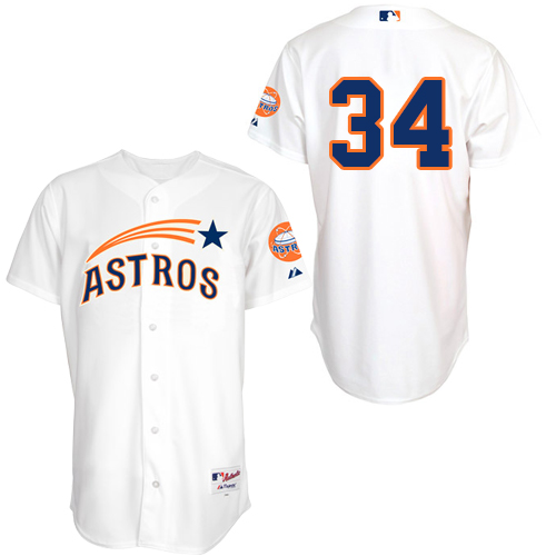 Men's Majestic Houston Astros #34 Nolan Ryan Authentic White 1965 Turn Back The Clock MLB Jersey