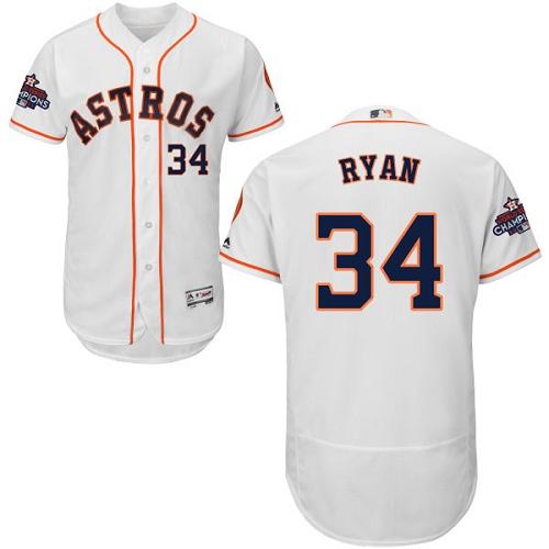 Men's Majestic Houston Astros #34 Nolan Ryan Authentic White Home 2017 World Series Champions Flex Base MLB Jersey
